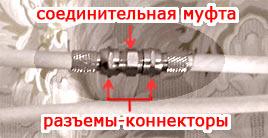 Установка спутниковой антенны. соединительные муфты для кабеля